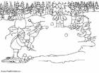 Coloring pages throw snowballs