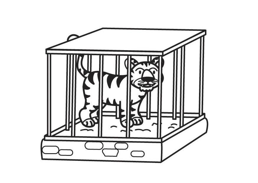 Coloring page Tiger in Cage - img 17709.