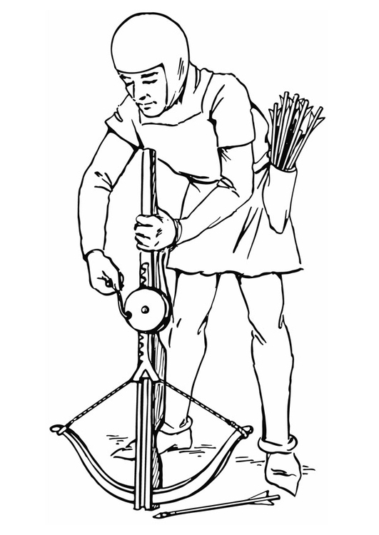 Coloring page tighten crossbow