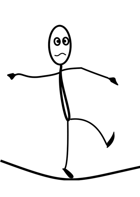 Coloring page tightrope walker