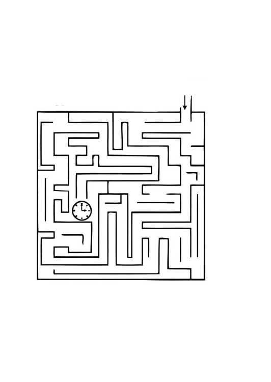 Coloring page time maze
