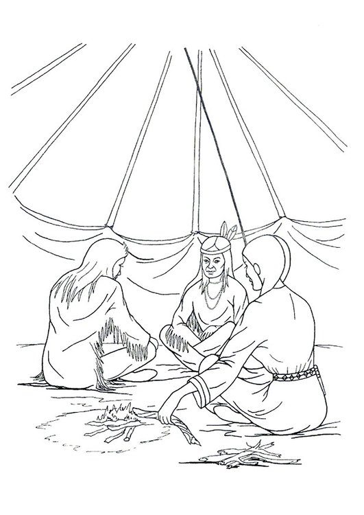 Coloring page tipi home