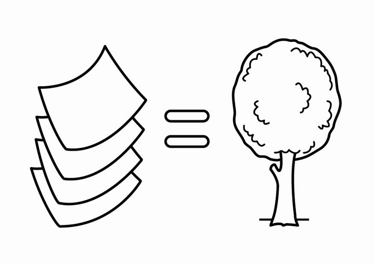 Coloring page to be energy efficient, paper is made from trees ...