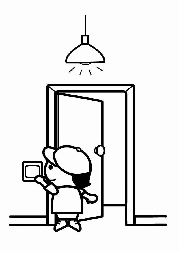 Coloring page to be energy efficient, switch off the lights when ...