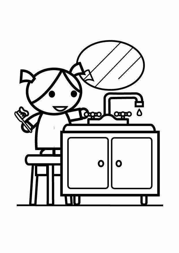Coloring page to be water efficient, turn off the tap (while ...
