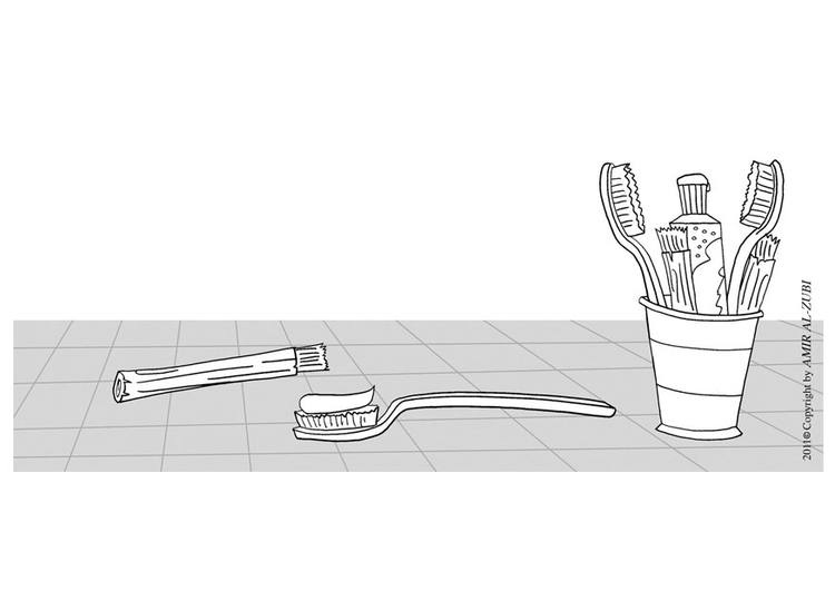 Coloring page to brush one's teeth
