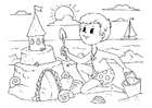 Coloring page to build a sandcastle