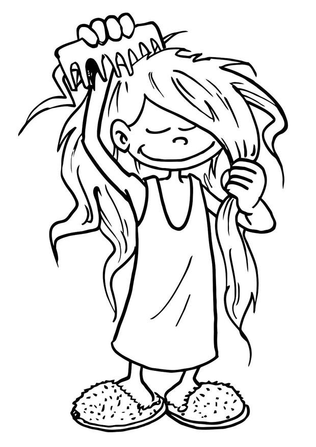 Coloring page to comb one\'s hair - img 19194.