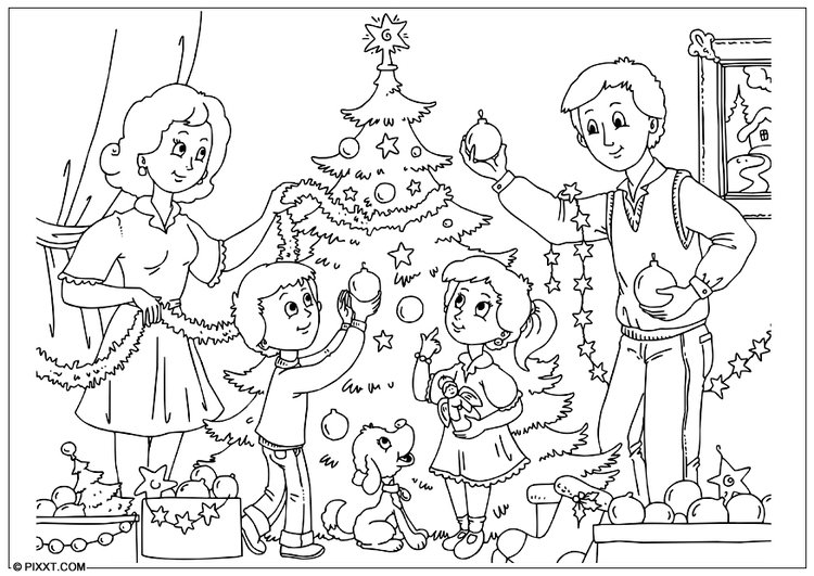 Coloring page to decorate the Christmas tree