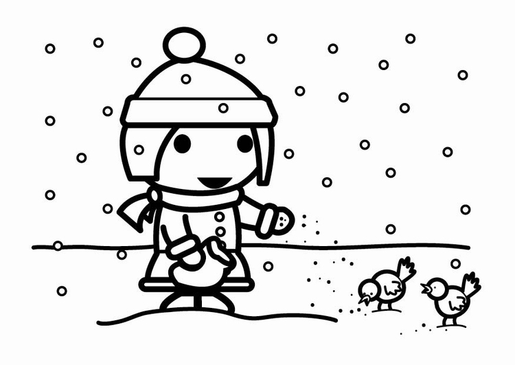 Coloring page to feed birds in the snow (seeds)