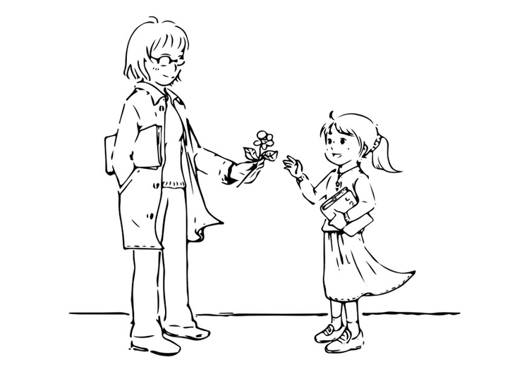 Coloring page to give a present