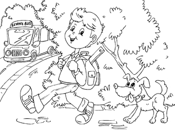 Coloring page to go to school by bus