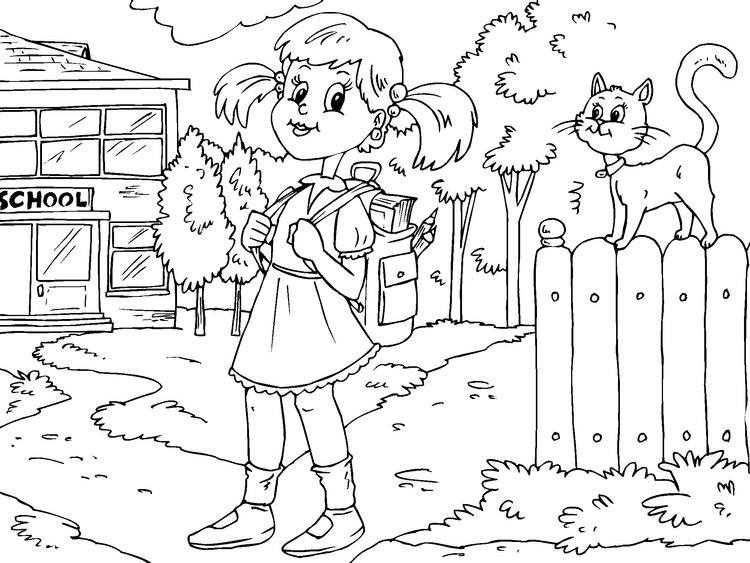 Coloring page to go to school