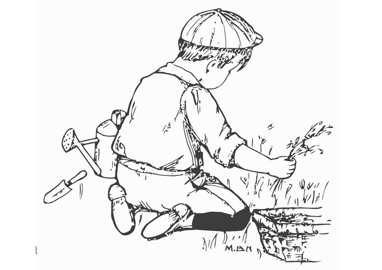 Coloring page to help in the garden