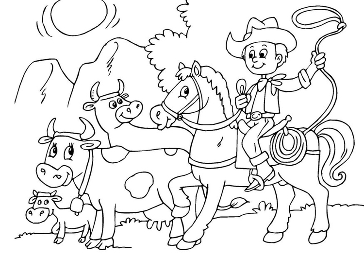 Coloring page to herd cows