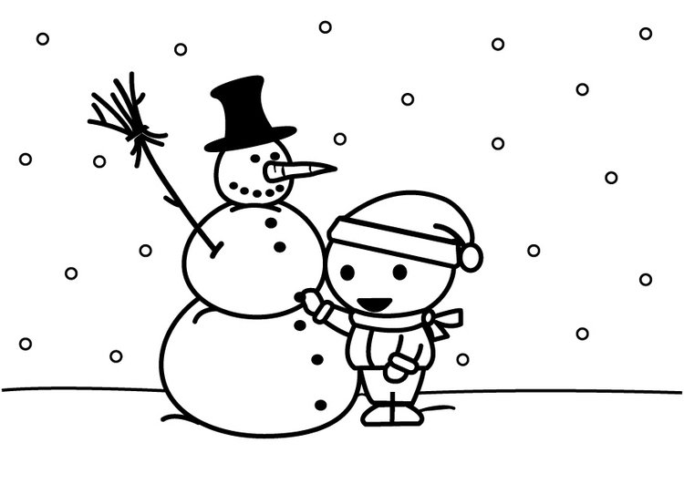 Coloring page to make a snowman