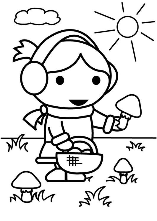 Coloring page to pick mushrooms