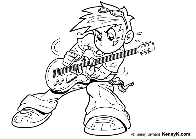 Coloring page to play guitar