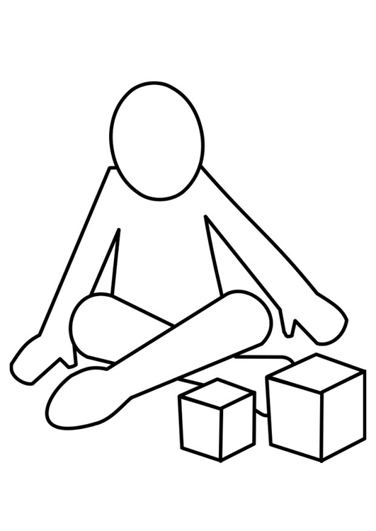 Coloring page to play with blocks
