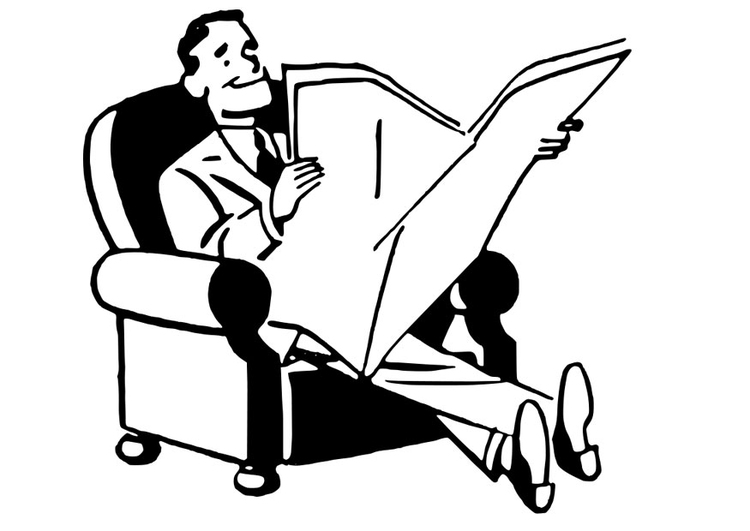 Coloring page to read a paper