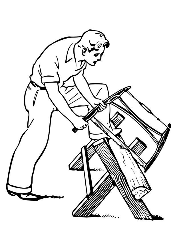 Coloring page to saw wood img 30122 for Chainsaw coloring pages