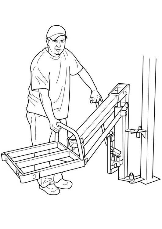 Coloring page to serve a hydraulic lift