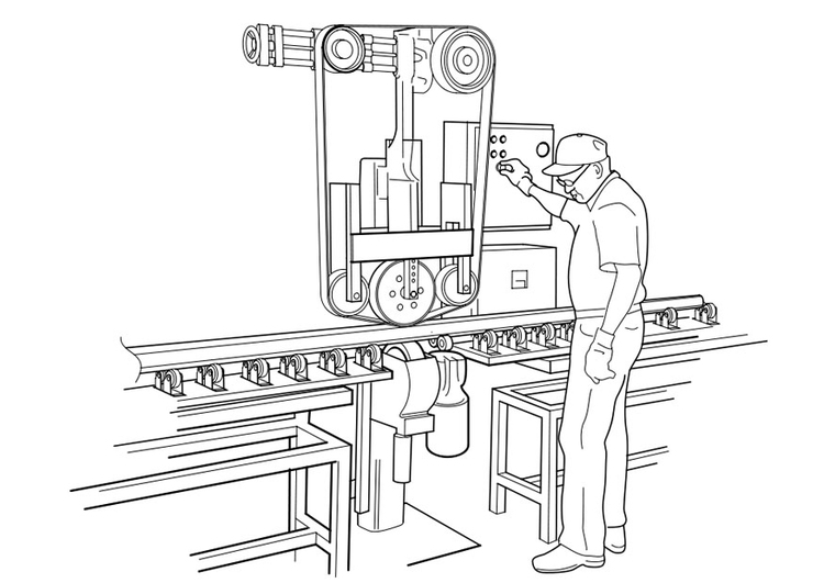 Coloring page to serve a machine