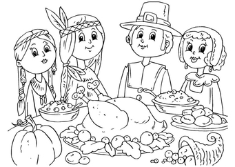 Coloring page to share a meal