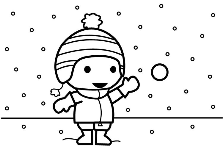 Coloring page to throw snowballs