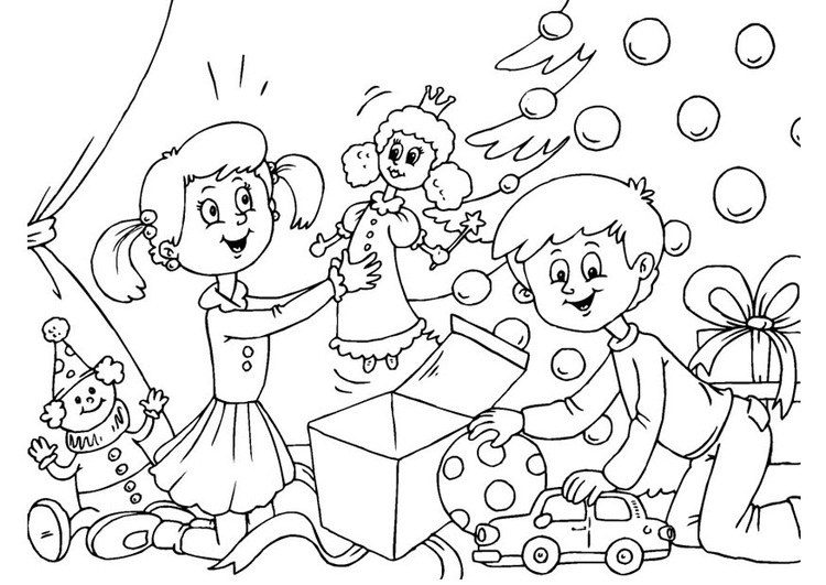 Coloring page to unwrap gifts