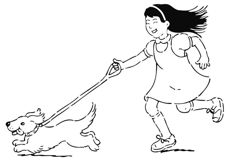 Coloring page to walk the dog