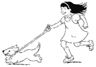 Coloring pages to walk the dog