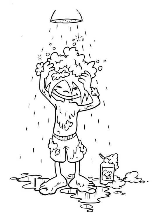 Coloring page to wash one's hair