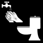 Coloring page to wash your hands after using the toilet