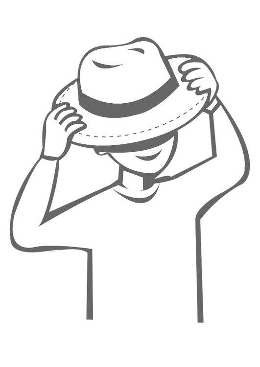 Coloring page to wear a hat