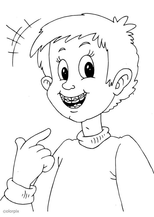 Coloring page to wear braces
