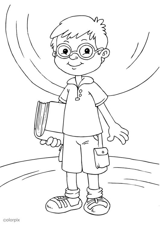 Coloring page to wear glasses