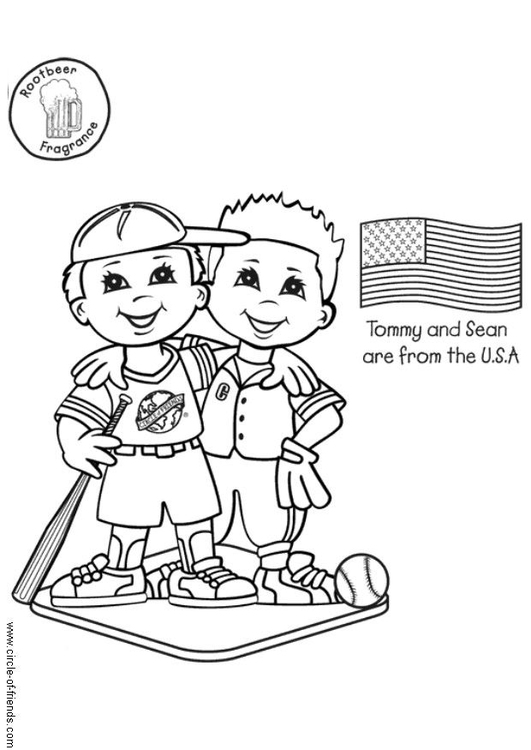 Coloring page Tommy and Sean from the USA