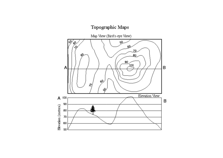 Coloring page topographic map