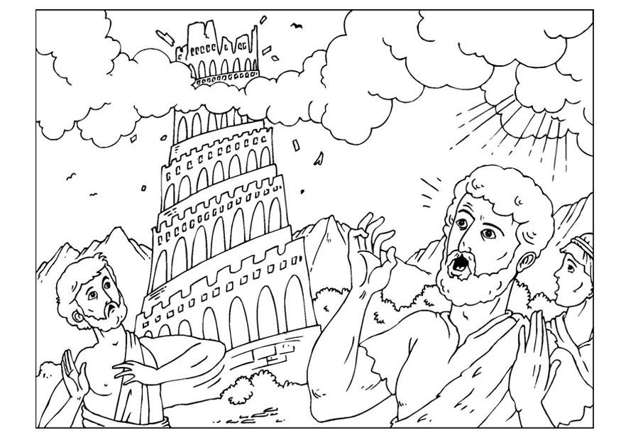 Coloring page tower of Babel img 25960