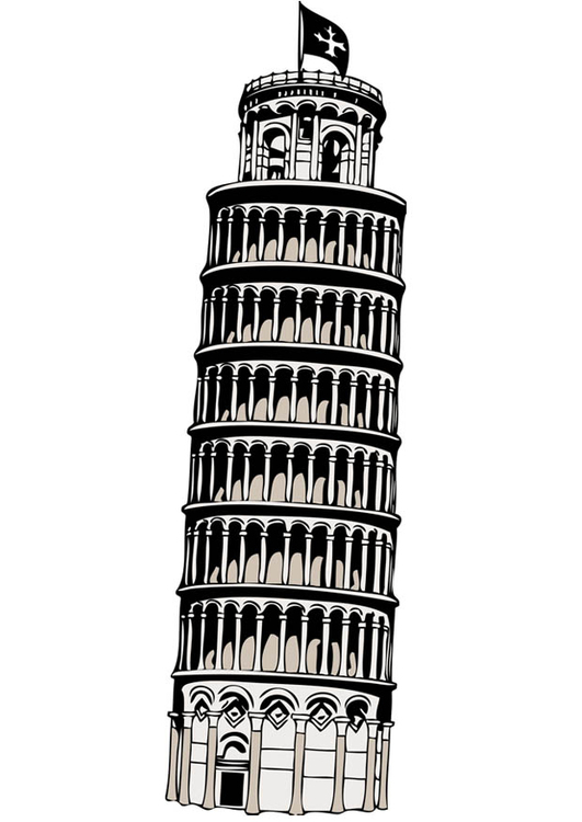 Coloring page tower of Pisa
