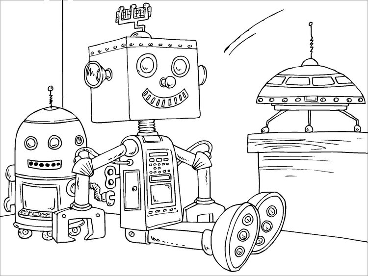 Coloring page toy robot