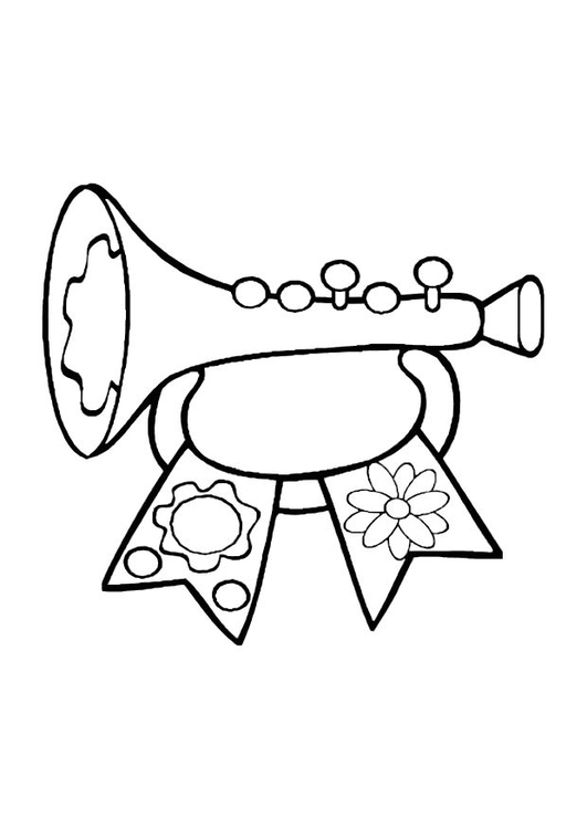 Coloring page toy trumpet