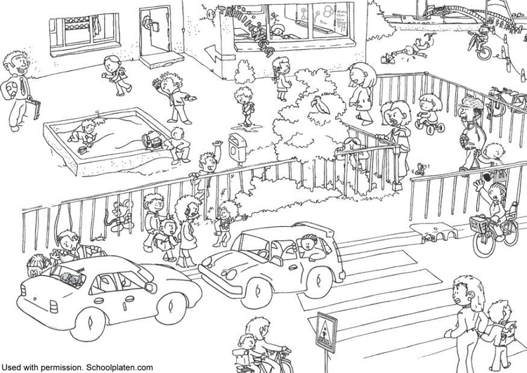 Coloring page traffic at school