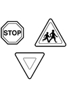 Coloring pages traffic signs