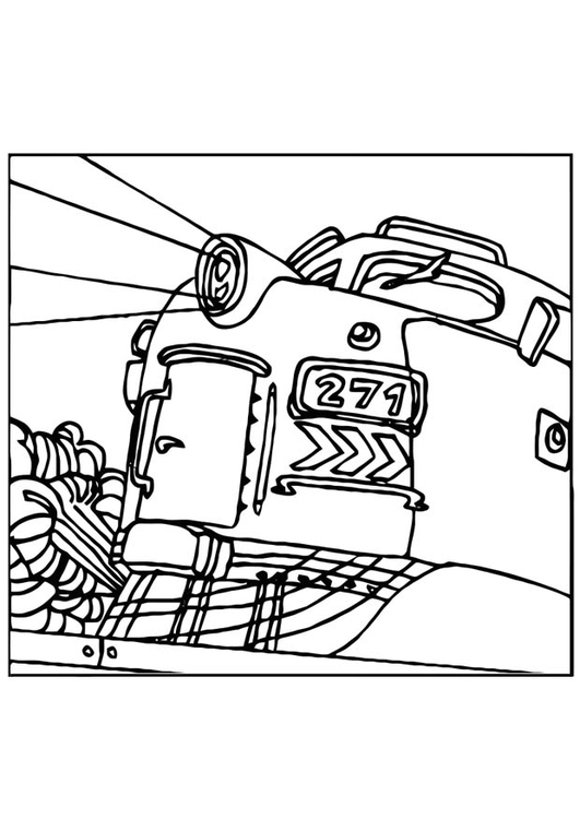 Coloring page train locomotive