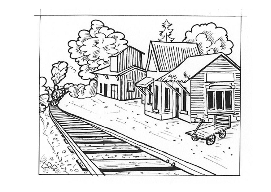 Coloring page train station - img 9538.
