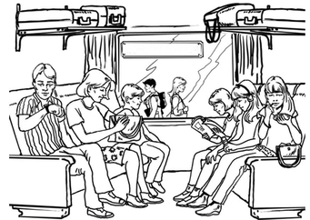 Coloring page train travel