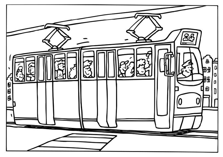 Coloring page tram