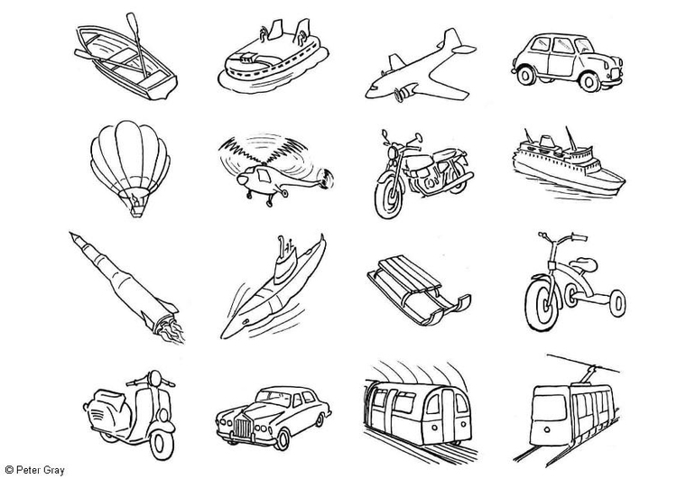 Coloring Page Transportation Icons